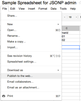Google Spreadsheet Publish to Web menu option
