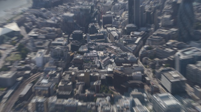 Helicopter shot of London.