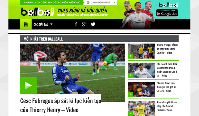 BallBall front page in Vietnamese